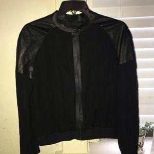 Elie Tahari Silk & Leather Bomber Jacket